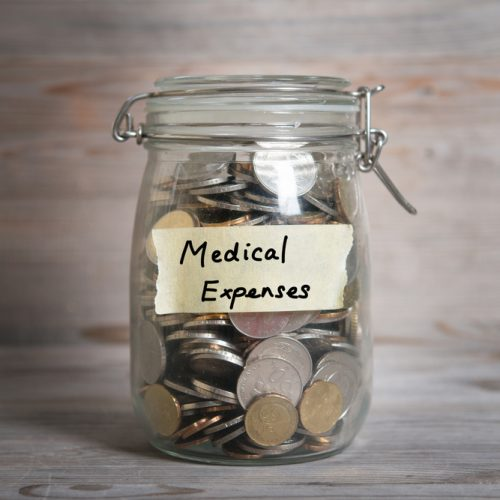 a jar with change in it for medical expenses